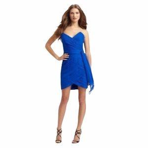 Kurt Thomas ♡ Silk Strapless Ruched Dress ♡ Cobalt